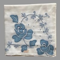 Vintage NWT Madeira Blue and White Handkerchief