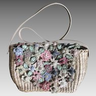 Vintage Cappelli Straworld purse handbag pastel crochet straw flowers Easter Spring
