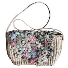 Vintage Cappelli Straworld purse handbag pastel crochet straw flowers Easter Spring - Red Tag Sale Item