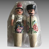 Pair of vintage Russian hand painted doll bottle corks