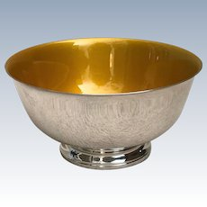 Vintage 1960s Reed and Barton Silverplate Serving Bowl with Enamel Interior