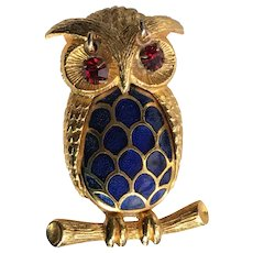 Vintage Blue Enameled Owl Pin Brooch