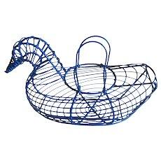 Vintage French Duck Egg Basket