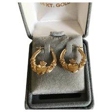 Vintage 14K Gold Irish Claddagh Hoop Earrings