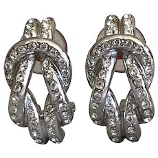 Stunning Christian Dior Rhodium Plated Crystal Clip On Earrings