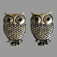 Vintage Adorable Owl Pierced Earrings