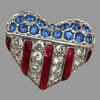 Heart Shaped Swarovski Crystal American Flag Pin