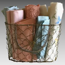 Basket of 8 vintage colorful linen and cotton hand towels