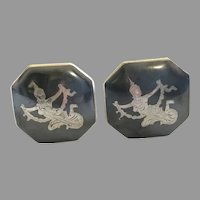 Vintage Sterling Silver Made in Siam Nielloware Cufflinks