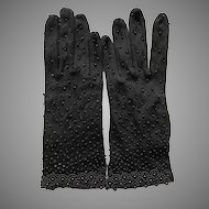 Vintage NWOT Black Nylon Beaded Gloves