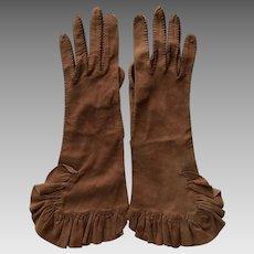 Vintage Handmade Suede Ruffled Gloves