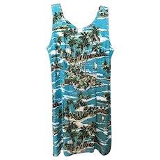 Vintage Fitted Hawaiian Mini Dress