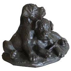 Bronze Puppies at Play Sculpture
