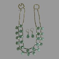 Vintage Kenneth Jay Lane Aqua Faceted Teardrop Crystal 2 Strand Necklace and Earrings