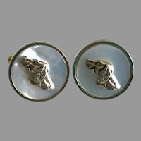 Vintage Hunting Dog Mother of Pearl Cufflinks