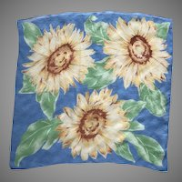 Vintage Blue Silk Crepe Sunflower Scarf