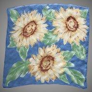 Vintage Blue Silk Crepe Sunflower Scarf