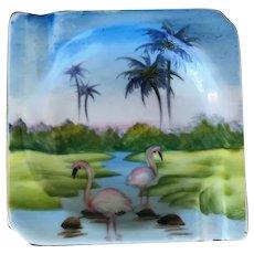 Mid Century Modern Hand Painted Flamingo Ash Tray