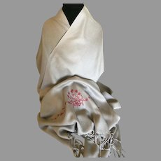 Vintage Silver Cashmere and Silk Pashmina with Embroidered Flowers