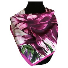 Silk Charmeuse Bold Flower Print Scarf