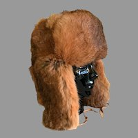 Vintage Trapper Style Hat in Natural Red Rabbit Fur