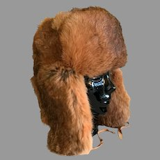 Vintage Trapper Style Hat in Natural Red Rabbit Fur