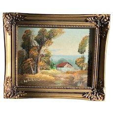 Miniature landscape signed oil painting