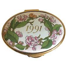 Vintage English enameled oval hinged pillbox 1991