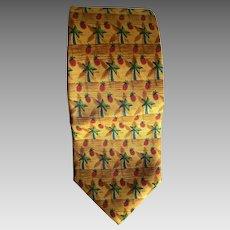 Vintage silk pineapple palm tree necktie