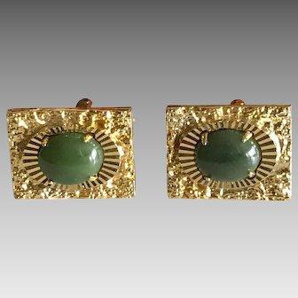 Vintage Film Noir Chinese jade cufflinks