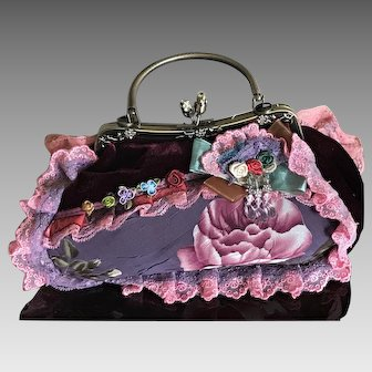 Vintage April Cornell patchwork and velvet handbag purse