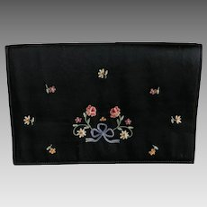 Vintage black silk satin and embroidered envelope clutch purse