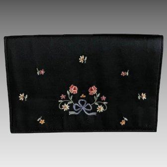 Vintage black silk satin and embroidered envelope clutch purse