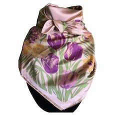 Vintage peach Thai silk daffodils and tulips scarf