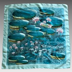Vintage aqua and pink waterlily silk scarf