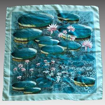 Vintage aqua and pink waterlily silk scarf