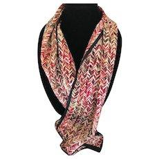 Vintage silk satin rectangular herringbone motif