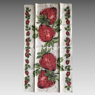 Vintage New Orleans strawberry linen tea towel