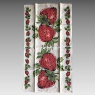 Vintage New Orleans strawberry linen tea towel
