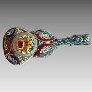 Vintage Italian Micro Mosaic guitar pin / brooch