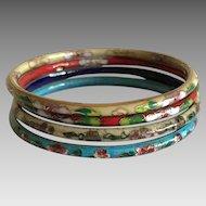 Stack of 4 vintage cloisonne bangle bracelets