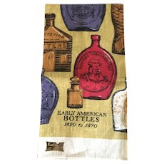 Vintage Early American Bottles tea towel 1820 -1870