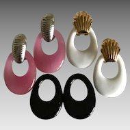 Vintage hand blown glass interchangeable pierced earrings