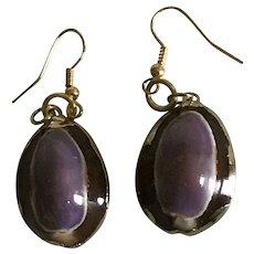 Vintage purple and brown cowrie sea shell pierced earrings