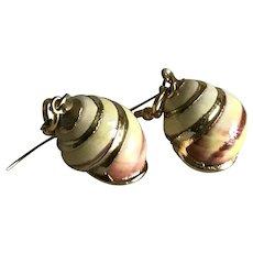 Vintage real shell dangling earrings