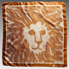 Vintage classic Anne Klein dotted lion logo scarf