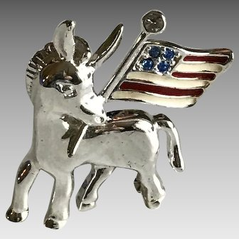 Vintage patriotic donkey holding a USA flag pin