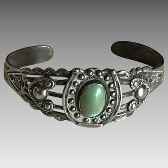 Fed Harvey era trading post coin silver and turquoise bracelet