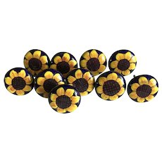 Ten vintage Talavera pottery drawer or cabinet pulls Sunflowers
