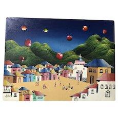 Jorge Cosme Quishpe Cuzco School of Art original oil painting on canvas Vibrant Surrealist village scene
